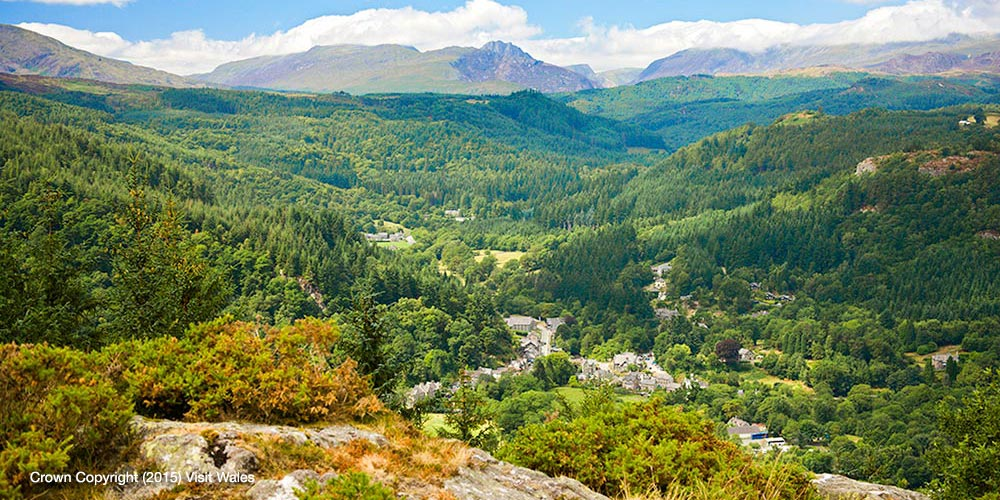 and lovely views looking over Betws y Coed and Snowdonia