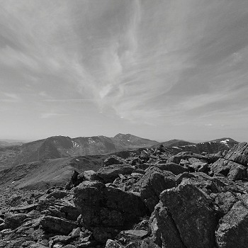 Mountain and sky in black & white